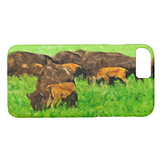Wild American Bison With Calves Abstract iPhone 7 Case