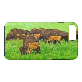 Wild American Bison With Calves Abstract iPhone 7 Plus Case