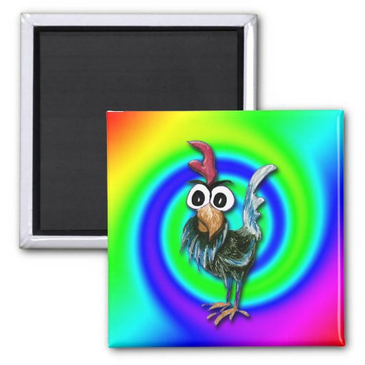 Wild and Crazy Rooster Magnet