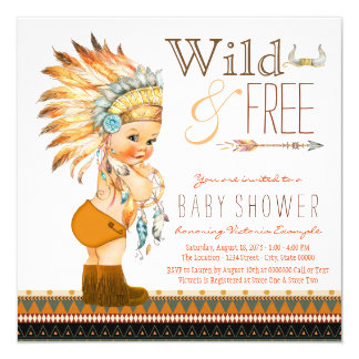 Wild and Free Boys Tribal Baby Shower 13 Cm X 13 Cm Square Invitation Card