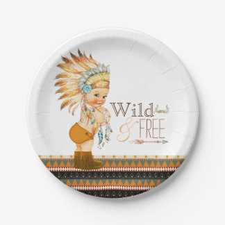 Wild and Free Boys Tribal Baby Shower 7 Inch Paper Plate