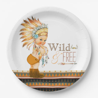 Wild and Free Boys Tribal Baby Shower 9 Inch Paper Plate