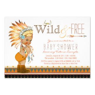 Wild and Free Ethnic Boys Tribal Boho Baby Shower 13 Cm X 18 Cm Invitation Card