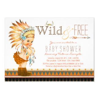 Wild and Free Girls Boho Tribal Baby Shower 13 Cm X 18 Cm Invitation Card