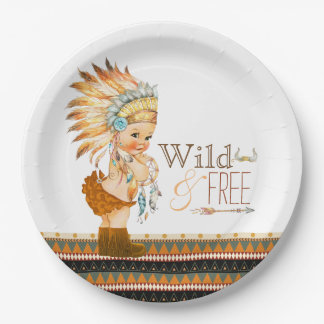 Wild and Free Girls Tribal Baby Shower 9 Inch Paper Plate