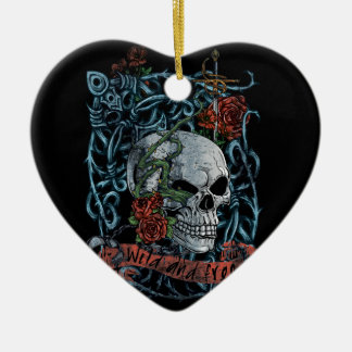Wild and Free Rose Skeleton Skull Ceramic Heart Decoration