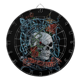 Wild and Free Rose Skeleton Skull Dartboard