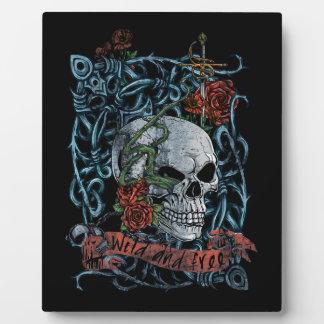 Wild and Free Rose Skeleton Skull Plaque