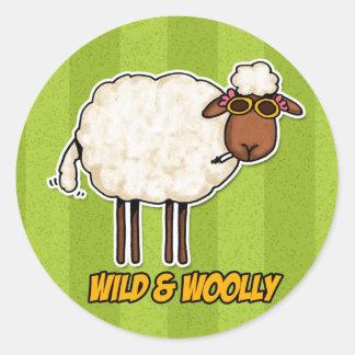 wild and woolly (smoking version) round sticker