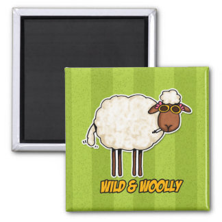 wild and woolly (smoking version) square magnet