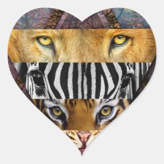 Wild Animal Adventure Wildlife Fun Heart Sticker