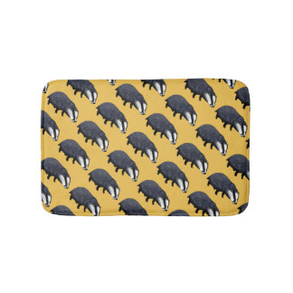 wild animal baby badger pattern bath mat