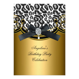 Wild Animal Black White Gold Birthday Party Personalised Invitations