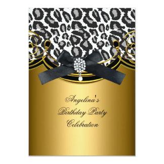 Wild Animal Black White Gold Birthday Party 4.5x6.25 Paper Invitation Card