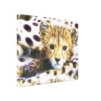 Wild Animal Cheetah Cub Wrapped Canvas Stretched Canvas Print