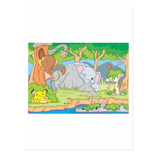 Wild Animal Friends Playing Hide and Seek Postcard