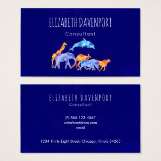 Wild Animal Herd Colorful Watercolor Business Card