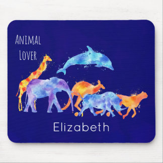 Wild Animal Herd Colorful Watercolor Mouse Mat