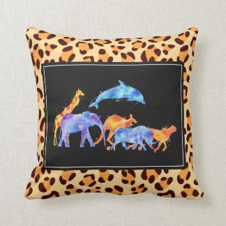 Wild Animal Herd  On Leopard Print Pattern Cushion