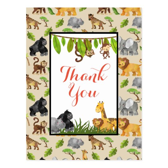 Wild Animal Jungle Pattern Party Thank You Postcard