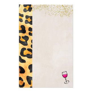Wild Animal Pattern and Wine Stationery
