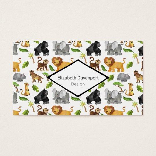 Wild Animal Safari Jungle Pattern Business Card