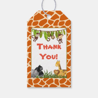 Wild Animal Safari Jungle Theme Thank You Gift Tags