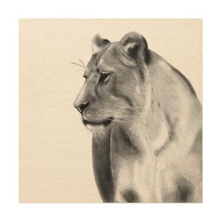 Wild Animal Savanna Grasslands Lioness Wildlife Wood Print