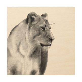 Wild Animal Savanna Grasslands Lioness Wildlife Wood Wall Decor