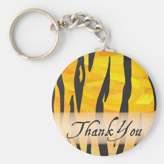 Wild Animal Tiger Stripe Thank You Basic Round Button Key Ring