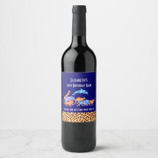 Wild Animals and Leopard Print Birthday Thanks Wine Label