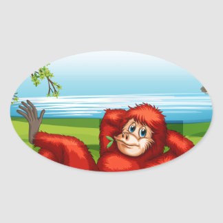 Wild animals by the lake oval sticker