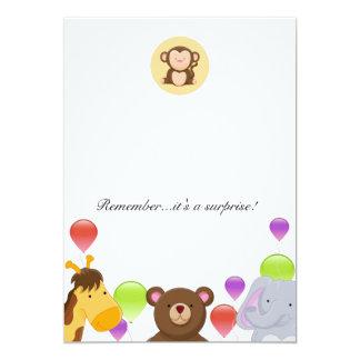 Wild Animals Child Birthday Surprise Card 13 Cm X 18 Cm Invitation Card
