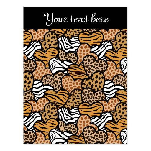 Wild animals  hearts Design Postcard Post Card