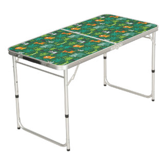 Wild Animals In Jungle Beer Pong Table