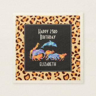Wild Animals on a Leopard Print Pattern Birthday Disposable Serviettes