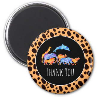Wild Animals on an Exotic Cheetah Print  Thank You Magnet