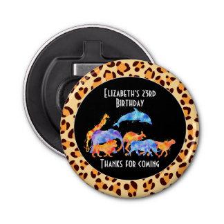 Wild Animals on an Exotic Leopard Print Pattern Bottle Opener
