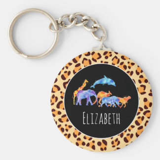 Wild Animals on an Exotic Leopard Print Pattern Key Ring