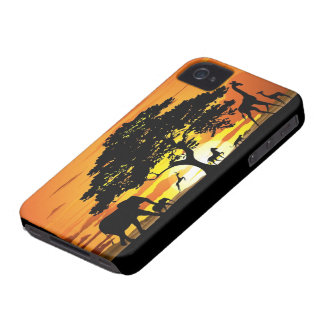 Wild Animals on Savannah Sunset iPhone 4 Case