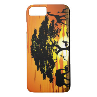 Wild Animals on Savannah Sunset iPhone 7 case