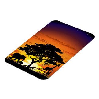 Wild Animals on Savannah Sunset Magnet