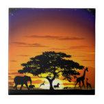 Wild Animals on Savannah Sunset tile