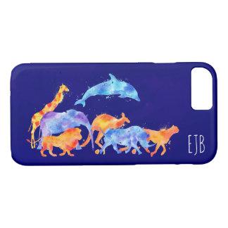 Wild Animals Running Colorful Watercolor Monogram iPhone 8/7 Case