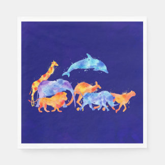 Wild Animals Running Together Colorful Watercolor Disposable Napkins