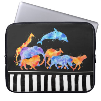 Wild Animals Running Together Colorful Watercolor Laptop Sleeve