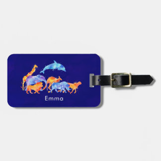 Wild Animals Running Together Colorful Watercolor Luggage Tag