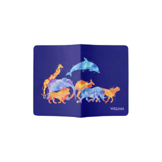 Wild Animals Running Together Colorful Watercolor Passport Holder