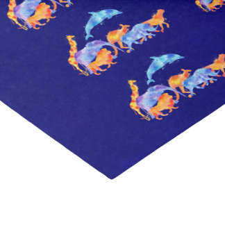 Wild Animals Running Together Colorful Watercolor Tissue Paper