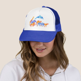 Wild Animals Running Together Colorful Watercolor Trucker Hat